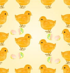Seamless texture Easter chicks and Easter eggs vector image vector image