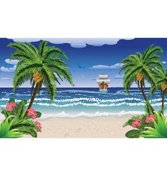 Cartoon boat and beach vector image vector image