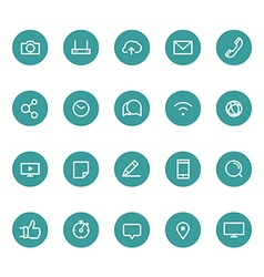 Different line style icons on circles set vector image vector image