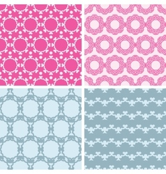 Four abstract chain motives seamless patterns set vector image vector image