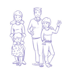 happy family with young children hand drawn vector image