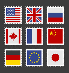 postage stamps set with different country flags vector image
