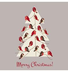 Retro Christmas Card - Winter Birds on Christmas T vector image vector image