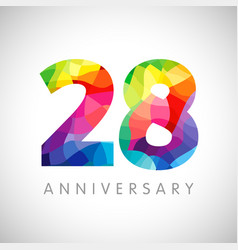 28 anniversary colorful facet logo vector