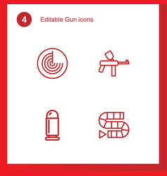 4 gun icons vector image