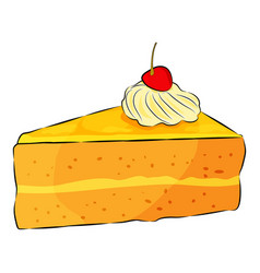 A piece cheesecake pie with cherry on top vector