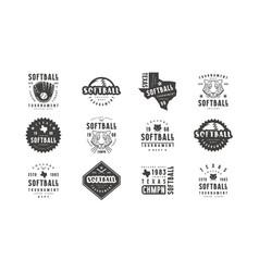 Badges set softball tournament vector