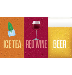 banners with beer red wine ice tea vector image