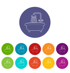 bath with shower icon outline style vector image