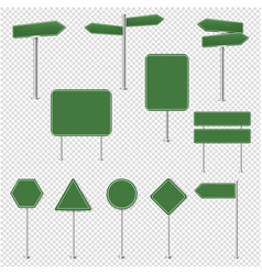 big set green stop signs and traffic sign vector image