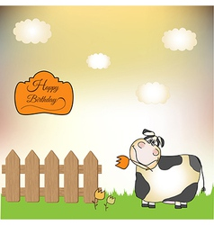 Birthday card with cow vector