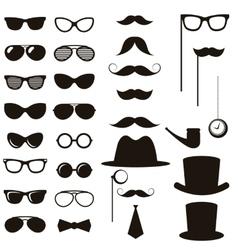 Black retro gentleman elements set vector image