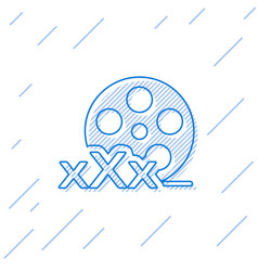 Blue line film reel with inscription xxx icon vector