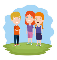boy and cute girls children with clothes in the vector image