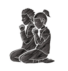 Boy and girl praise god prayer christian praying vector