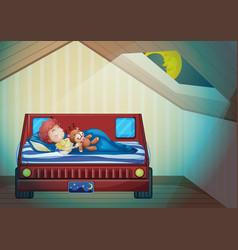 boy sleeping in bedroom vector image