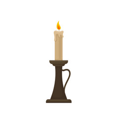 Burning candle in a candlestick vintage candle vector
