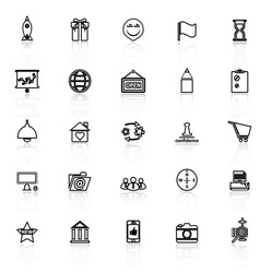 Business start up line icons with reflect on white vector