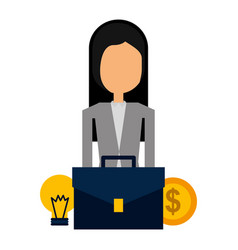 businesswoman suitcase and money bulb light vector image