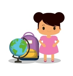Cartoon girl pink dress bag and globe vector