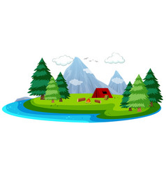 Cartoon island camping scene vector