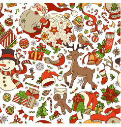 Cartoon merry christmas seamless pattern vector