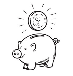 cartoon piggy bank with coin vector image