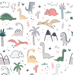 Cartoon seamless pattern with dinosaurs and palm vector
