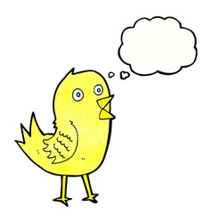 cartoon tweeting bird with thought bubble vector image