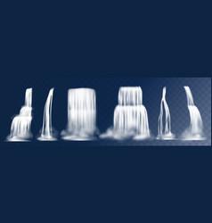 cascade waterfall realistic 3d falling mountain vector image