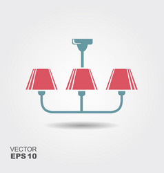 chandelier flat icon with shadow vector image