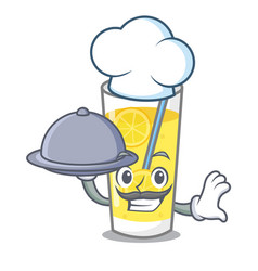 Chef with food lemonade mascot cartoon style vector