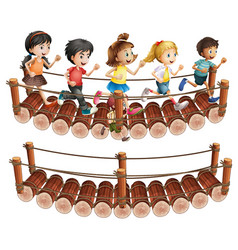 Children running across the wooden bridge vector