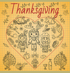Childrens drawing style thanksgiving day doodle vector