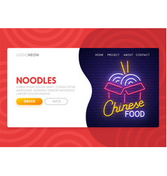 chinese food landing page noodles neon sign vector image
