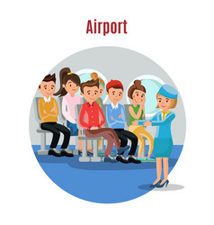 Colorful people on airplane template vector