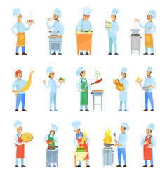 cook chefs cooking meal in kitchen set vector image