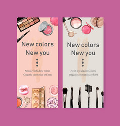 Cosmetic flyer design with highlighter foundation vector