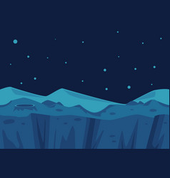 Cosmic landscape background and crater star vector