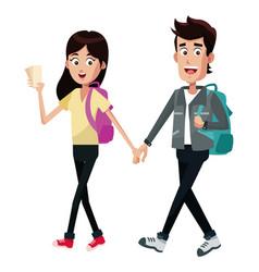 Couple traveler ticket rucsack vector