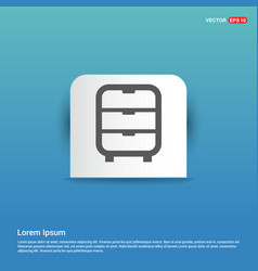 Cupboard icon - blue sticker button vector