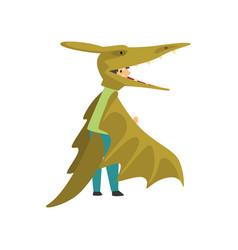 Cute boy in green pterodactyl dinosaur costume vector