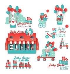 Cute Designs Set for Baby Store Delivery Service vector image vector image