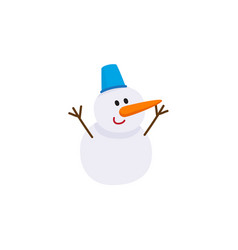 cute snowman with carrot nose and bucket hat vector image