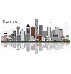Dallas texas city skyline with gray buildings and vector