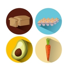 Delicious and healthy breakfast icon vector