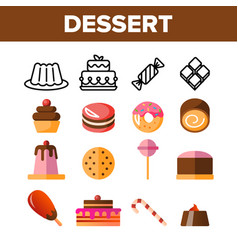 desserts pastry sweets color icons set vector image