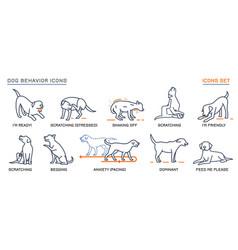 Dog behavior icons set vector