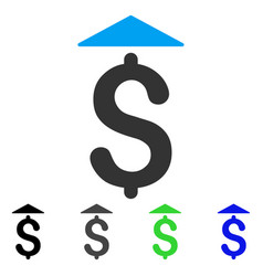 Dollar up flat icon vector