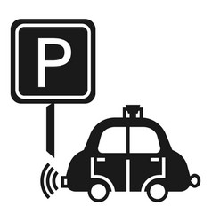 Driverless car parking icon simple style vector